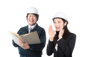 Construction man and woman